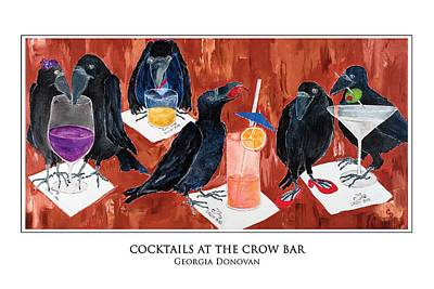 Crows Painting - Cocktails At The Crow Bar by Georgia Donovan