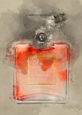 Fashion Painting - Coco Mademoiselle Perfume 2 - By Diana Van by Diana Van