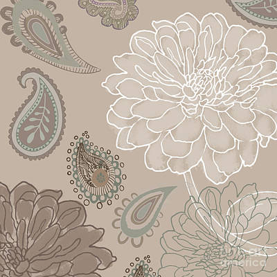 Cocoa Paisley V Print by Mindy Sommers