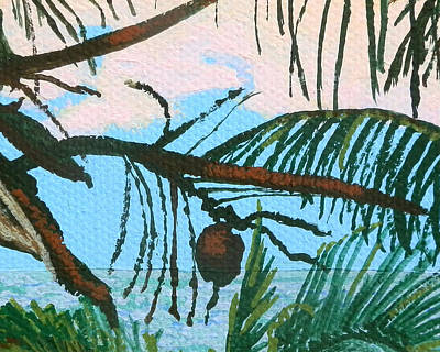 Tropics Painting - Coconut by Margaret Brooks