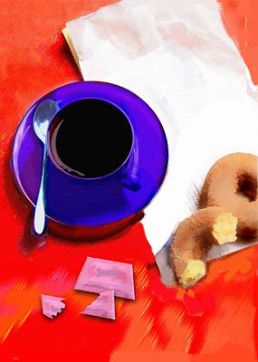 Donuts Painting - Coffee And Donuts Irony by Elaine Plesser