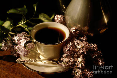 Coffee And Lilacs In The Morning Print by Lois Bryan