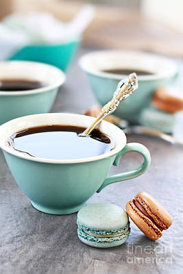 Cup Photograph - Coffee And Macarons by Stephanie Frey