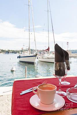 Coffee At Mediterranean Harbour Print by Elena Elisseeva