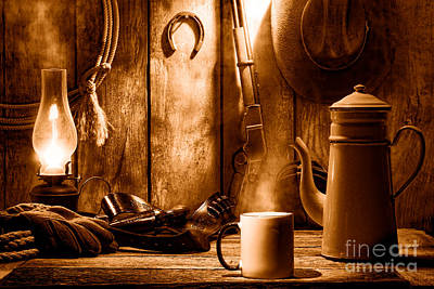 Old Western Photograph - Coffee At The Cabin - Sepia by Olivier Le Queinec