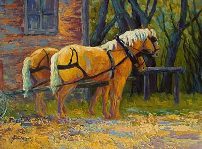 Coffee Break - Draft Horse Team Print by Marion Rose