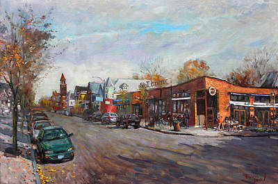 City-scapes Painting - Coffee Break At Spot by Ylli Haruni
