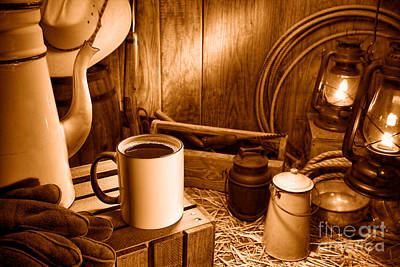 Coffee Break At The Chuck Wagon - Sepia Print by Olivier Le Queinec