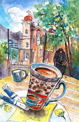 Travel Sketch Drawing - Coffee Break In Neapoli In Crete by Miki De Goodaboom