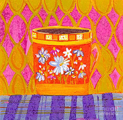 Floral Digital Art Drawing - Coffee Cup - Floral Eclectic Design - Funky Colors Illustration by Patricia Awapara