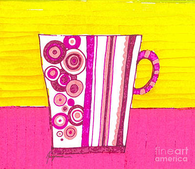 Lime Drawing - Coffee Cup - Teacup - Pink Circle And Lines Modern Design Illustration Art by Patricia Awapara