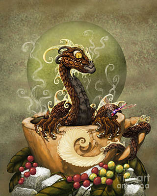 Dragon Digital Art - Coffee Dragon by Stanley Morrison