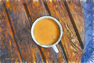 Spoon Digital Art - Coffee On The Table - Da by Leonardo Digenio