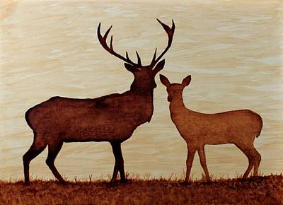 Coffee Painting Deer Love Original by Georgeta  Blanaru