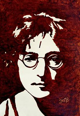 Coffee Painting John Lennon Original by Georgeta  Blanaru