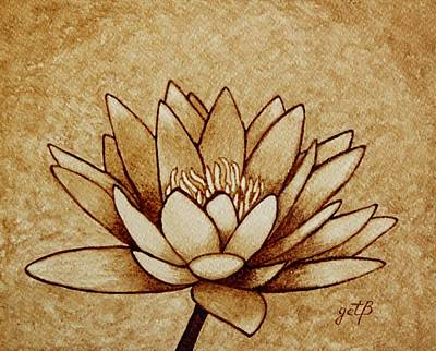 Coffee Painting Water Lilly Blooming Original by Georgeta  Blanaru