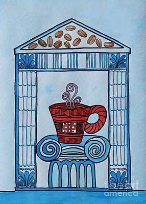Coffee Palace Blue Print by Norma Appleton