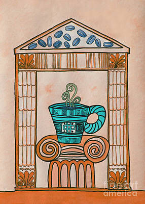 Coffee Palace Terracotta Print by Norma Appleton
