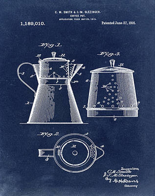1916 Digital Art - Coffee Pot Patent 1916 Blue by Bill Cannon