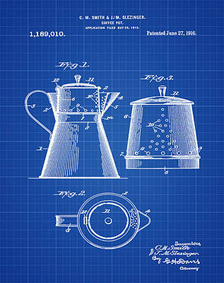 1916 Digital Art - Coffee Pot Patent 1916 Blue Print by Bill Cannon