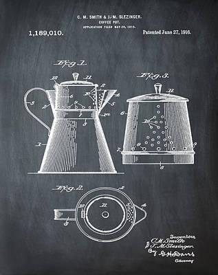 1916 Digital Art - Coffee Pot Patent 1916 Chalk by Bill Cannon