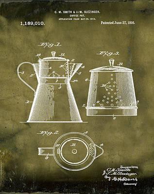 1916 Digital Art - Coffee Pot Patent 1916 Grunge by Bill Cannon
