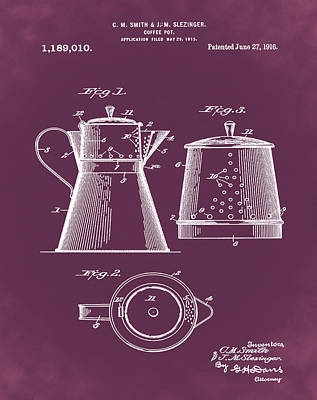 1916 Digital Art - Coffee Pot Patent 1916 Red by Bill Cannon