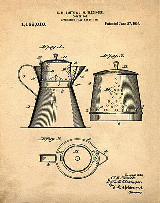 1916 Digital Art - Coffee Pot Patent 1916 Sepia by Bill Cannon