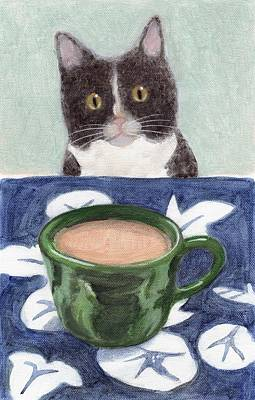 Table Cloth Painting - Coffee With Henry #4 by Kazumi Whitemoon