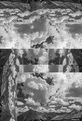 Drippy Digital Art - Cojoined Octagonimbus Clouds Over The B And W Mountains by Drippy