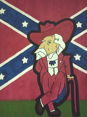 Col Reb With Rebel Flag Print by Lisa Collinsworth