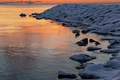 Cold And Hot - Colorful Sunrise On The Lake Print by Georgia Mizuleva
