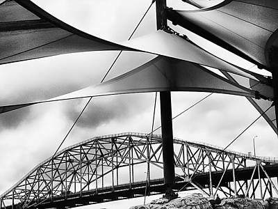Manipulation Photograph - Windy Day At The Corpus Christi Harbor Bridge by Wendy J St Christopher