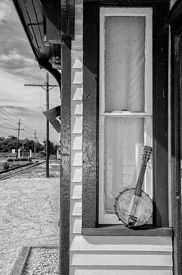 Mandolin Photograph - Cold Point Village Station - Banjo Mandolin In Black And White by Bill Cannon