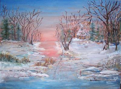Sunset Painting - Cold Sunset by Mary Sedici