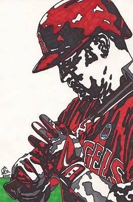 Baseball Art Drawing - Cole Calhoun 2 by Jeremiah Colley