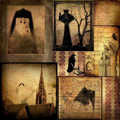 Collage Of Gothic Old  Print by Gothicolors Donna Snyder