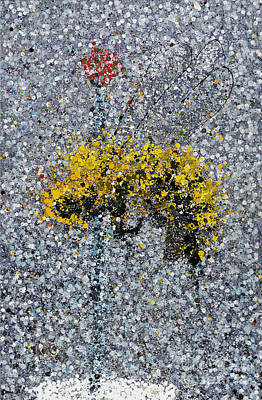 Splashy Art Painting - Collected Bee by Michael Glass