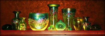 Vaseline Glass Photograph - Collection Of Matching Blown Glass  Vases by Anita Hiltz