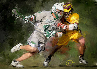 Scott Melby Painting - College Lacrosse 8 by Scott Melby