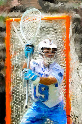 Scott Melby Painting - College Lacrosse Goalie by Scott Melby