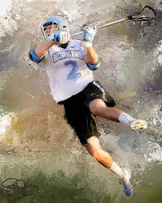 Scott Melby Painting - College Lacrosse Shot 2 by Scott Melby