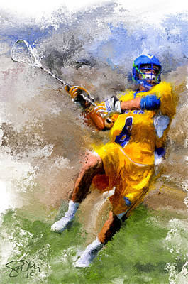 Scott Melby Painting - College Lacrosse Shot by Scott Melby