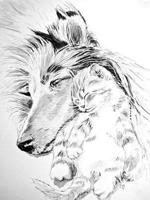 Collie And Kittie Original by Carol Blackhurst