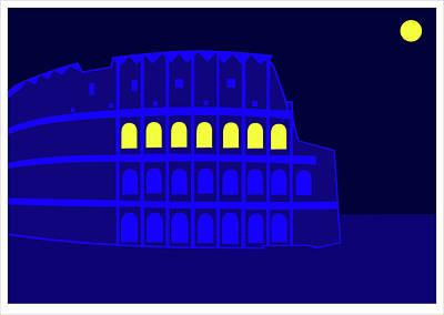Digital Art - Colluseum Rome by Asbjorn Lonvig
