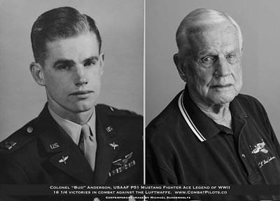 4 Aces Photograph - Colonel Bud Anderson United States Fighter Ace Legend - Then And Now. by John Martin Bradley