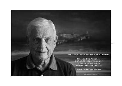 4 Aces Photograph - Colonel Bud Anderson United States Fighter Ace Legend by John  Bradley