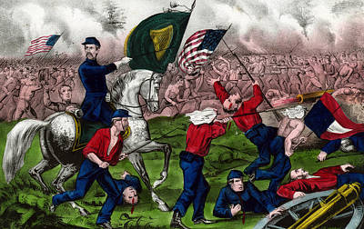 Solider Drawing - Colonel Michael Corcoran At The Battle Of Bull Run by American School