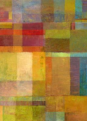 Abstract Pattern Painting - Color Collage With Green And Red by Michelle Calkins