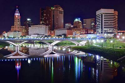 Photograph - Color Lights The Scioto by Frozen in Time Fine Art Photography